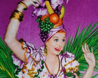 I Love Lucy Fabric Remnant Carmen Miranda Rickys Hawaiian Vacation OOP Hard to Find