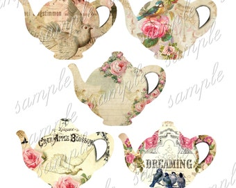 INSTANT DOWNLOAD - Pretty Teapots  - Printable Download - Gift Tags - Scrapbook