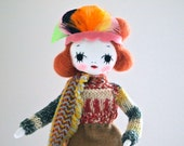 WINTER SALE Hand crafted art doll cloth pose doll