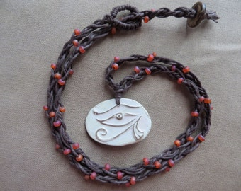 Hemp Necklace Eye of Horus Ceramic and Glass - Egyptian Symbol of Protection