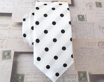 Necktie White Black Dot Mens Skinny Tie