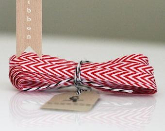 Red and White Narrow Stripe Chevron Ribbon 5 yards