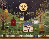 """Sleepy Town 5""""x7"""" PRINT by Leslie Berg"""