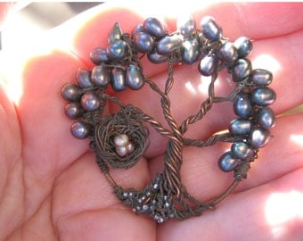 Mini Fairy Plums tree of life woodland on copper chain fall colors hammered copper handmade magical