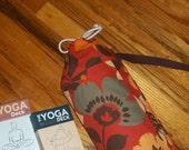 Yoga Mat Bag  / Cotton Canvas / Red Orange Floral Drawstring Tote/ yoga / Mat Bag