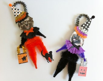 Keeshond HALLOWEEN Trick or Treat vintage style CHENILLE ORNAMENTS set of 2