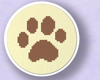 My furry pal. Paw Print Modern Simple Cute Counted Cross Stitch Pattern. PDF File. Instant Download