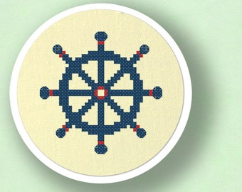 Blue Ship's Wheel. Nautical Cross Stitch PDF Pattern Instant Download