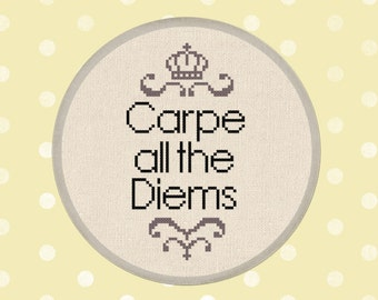 Carpe all the Diems. Quote Modern Simple Cute Counted Cross Stitch Pattern PDF Instant Download