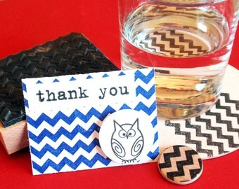 Chevron Rubber Stamp  - Handmade by BlossomStamps