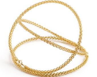 Bangle bracelets , gold bangle bracelets , stacking bangles , wire crocheted jewelry , gold filled , fashion boho chic