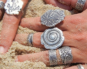 Nautical Jewelry, Silver Sea Shell Ring, Nautical Spiral Shell Ring, Silver Statement Ring, Cool Silver Shell Ring by HappyGoLicky ANY SIZE