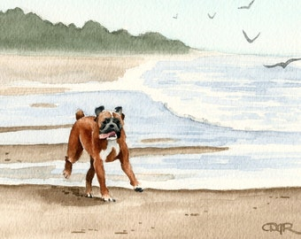 """Boxer Art Print """"BOXER At The BEACH"""" Signed by Artist D J Rogers"""