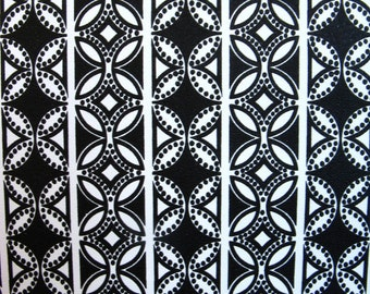 vintage wallpaper - black and white geometric circles - per yard - FOLDED