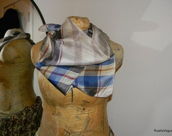 Vintage Silk Plaid Scarf, Blues and Browns