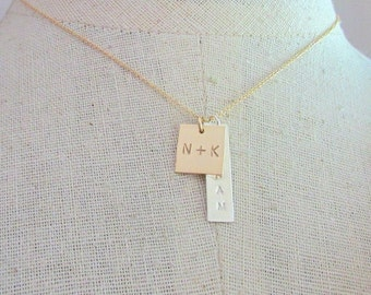 Square Charm Necklace, Mixed Metal, Gold Filled, Sterling Silver Personalized Mommy Necklace ELLE by E. Ria Designs