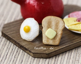 Toast Earrings with Butter and Sunny Side Up Egg