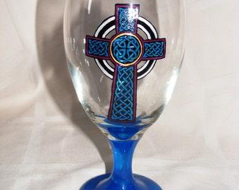 Hand painted Celtic cross glass goblet