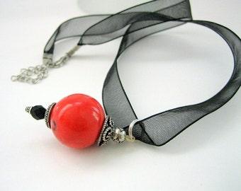 Pendant- Natural Coral bead - Bali Silver-Organza cord- Gift idea
