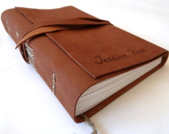 Personalised Leather Journal, Dark Brown