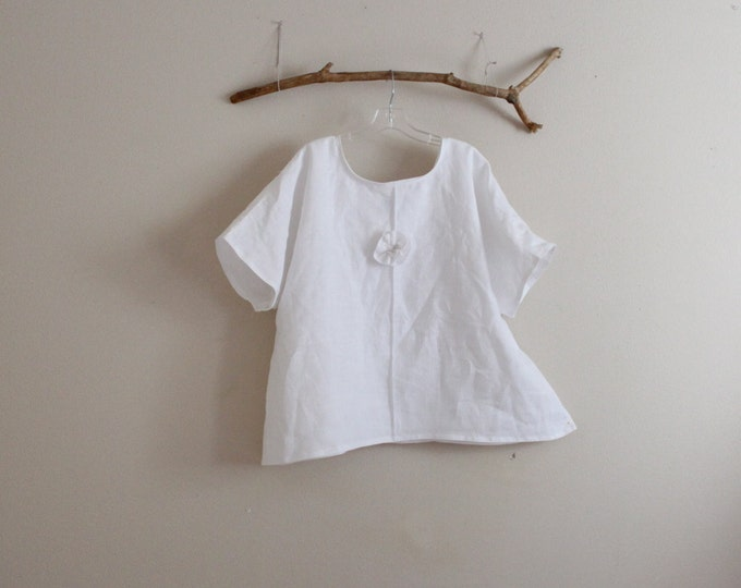 custom eco linen wavy top with pleated flower / linen top with many color choice / drop sleeve linen top / comfy linen top /
