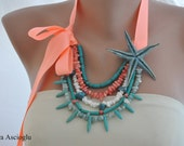 Handmade Coral and Turquoise Necklace , Pink Coral Bead Necklace, casual holiday jewelry ,Beaded Necklace,Starfish Wedding Jewelry