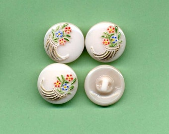 Set Of Four Vintage Glass Buttons - Pink  With Cornucopias