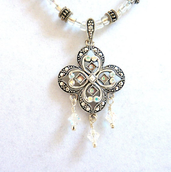 Cross Clover Pendant Necklace, Silver Crystal Clover Necklace, Clear Swarovski Crystal Cross Pendant Necklace