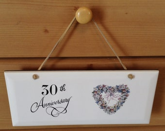 30 Anniversay Ceramic Plaque  it is 4 1/4 by 10