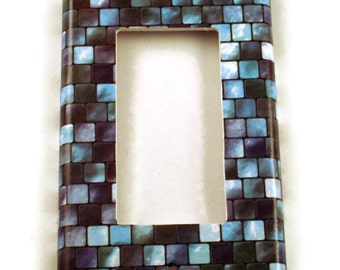 Rocker Light Switch Cover Wall Decor Switchplate  Single  Switch Plate in Tranquil Tiles (203R)