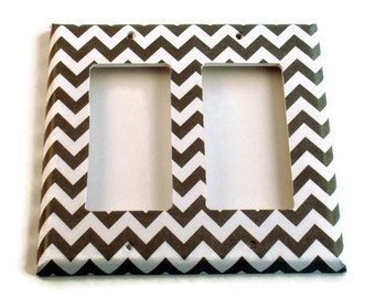 Double Rocker Light Switch Cover Wall Decor Switchplate Switch Plate in  Gray Chevron  (154DR)