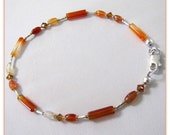 Red Aventurine Anklet, Gemstone Anklet, Beaded Anklet,  Body Jewelry, Ankle Bracelet, size 9.5 Foot Jewelry Item #JD952