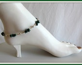 Anklet,  Malachite,  Gemstone Beaded  Anklet,  foot jewelry, Body Jewelry,  size 10 inch, Green Anklet, Jewelry Accessories,   Item #958