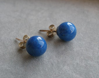 Lapis 8mm Ball Stud Ear Rings with Sterling Silver Posts 925 AAA Stones Hallmarked