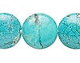 10 Teal Green Magnesite (dyed/assembled) 20mm puffed flat round beads. C grade, Mohs hardness3-1/2 to 4.