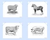 Printable Farm Animal Print Set 8 x 10 Barnyard Animals Print Set Modern Farmhouse Decor Cow Sheep Horse Pig Barnyard Print Black White