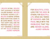 Audrey Hepburn I Believe in Pink You Are Never Alone Digital Print Set 5 x 7 Two Quote Prints Neapolitan Colors Printable Inspirational Art