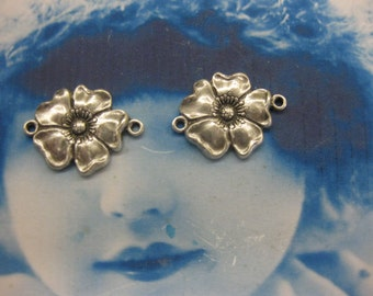 Sterling Silver Ox Plated Flower Jewelry Connectors 650SOX x2