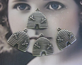 Silver Ox Plated Beehive Stamping Charms 2246SOX  x4