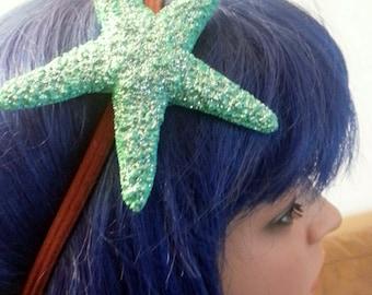 Teal Starfish, Starfish headband, Beach wedding, tropical wedding, bridal, starfish barrette, starfish hair clip,beach, mermaid
