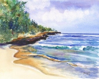 Pristine Mahaulepu Beach 8x10 print from Kauai Hawaii blue periwinkle sand green
