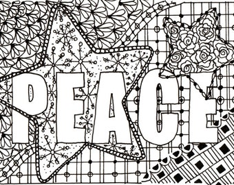 Printable DIY Zendoodle PEACE card 5x7 pdf from Kauai Hawaii Mele Kalikimaka Christmas doodle black white zentangle inspired art