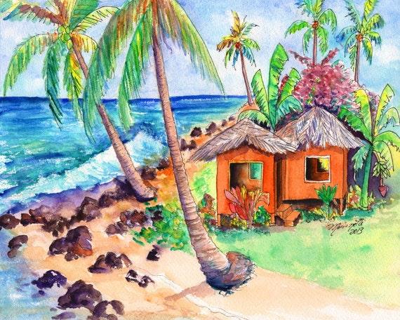 Tropical Beach Huts: Tropical Beach Hut 8x10 Print From Kauai Hawaii By Kauaiartist