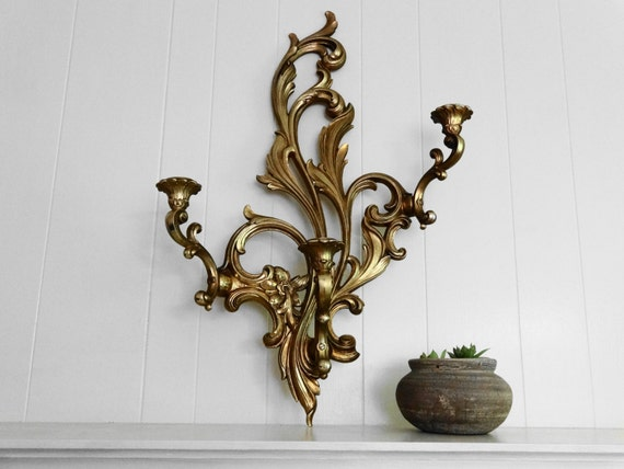 Vintage Syroco Gold 3 Candle Wall Sconce Hollywood Regency Mid