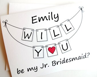 Will You Be My Jr. Bridesmaid Card - Personalized Pennant Design