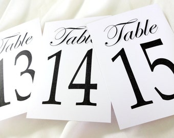 Table Number Signs 1 thru 20 - White or Ivory Shimmer - size 5x7, 4x6 or 3.5x5