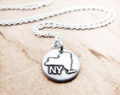 Tiny state necklace, New York jewelry silver map pendant NY
