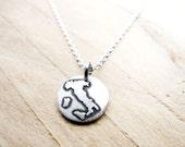 Tiny map of Italy necklace, silver Italia pendant