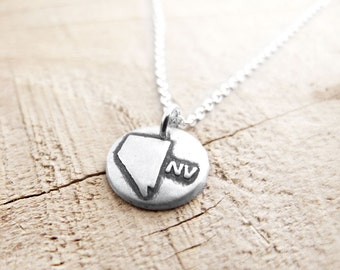Tiny Nevada necklace, silver state jewelry map pendant