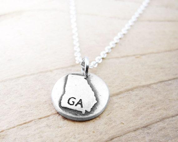 il 570xN.491811036 rcvt Tiny Georgia necklace, silver state jewelry Georgia map pendant by lulubugjewelry